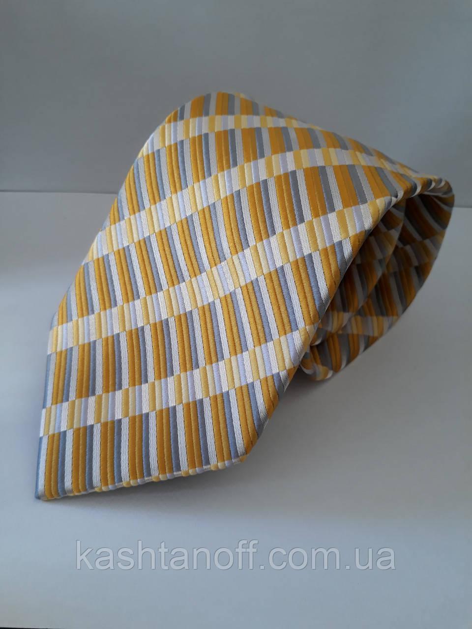 Галстук желтый в диагональную фактурную полоску