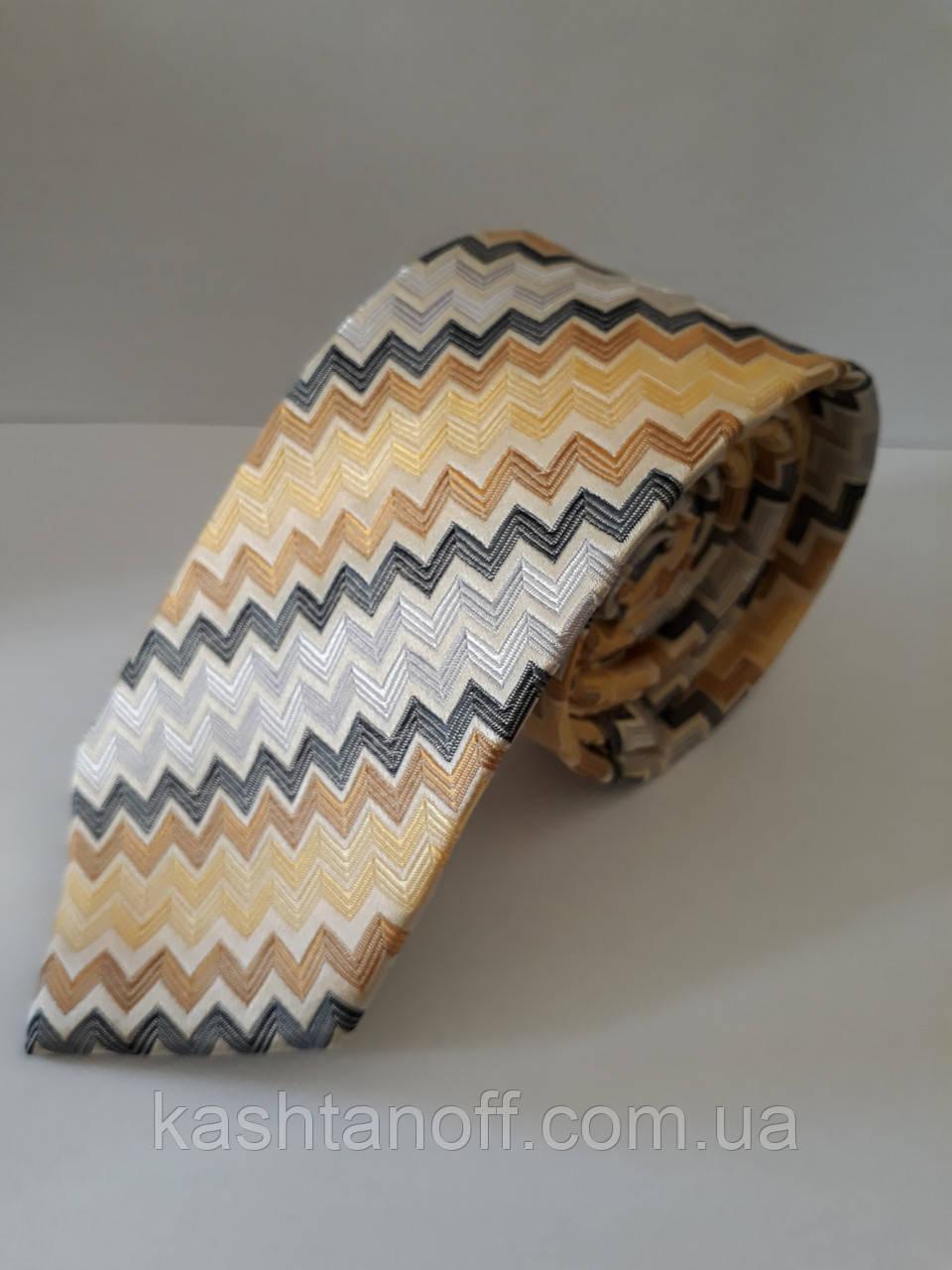 Узкий галстук с дигональным принтом зигзаг