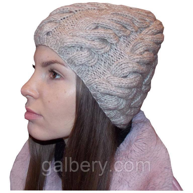 Женская вязаная шапка в стиле Лало, с градиентом, объемной крупной вязки косами.