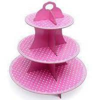 Подставка для кексов/десертов трёх-ярусная розовая в горошек