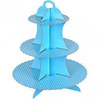 Подставка для кексов/десертов трёх-ярусная голубая в горошек