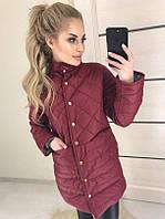 Женская длинная куртка на заклепках