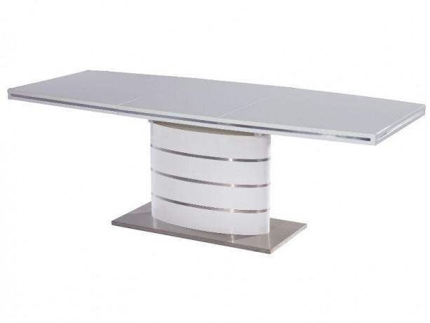 Стіл обідній Fano стільниця МДФ Білий лак, каркас матова сталь 140-200x90 (Signal TM)