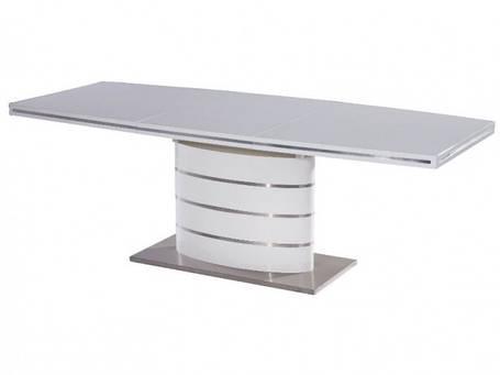 Стол обеденный Fano  столешница МДФ Белый лак, каркас матовая сталь 140-200x90 (Signal TM), фото 2