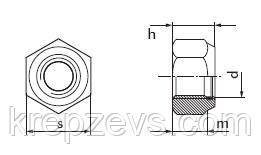 Схема габаритных размеров гайки DIN 985
