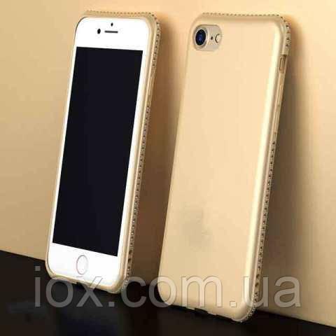 "Мягкий чехол с камушками Swarovski для iPhone 7/8 Plus (5.5"") золотистый"