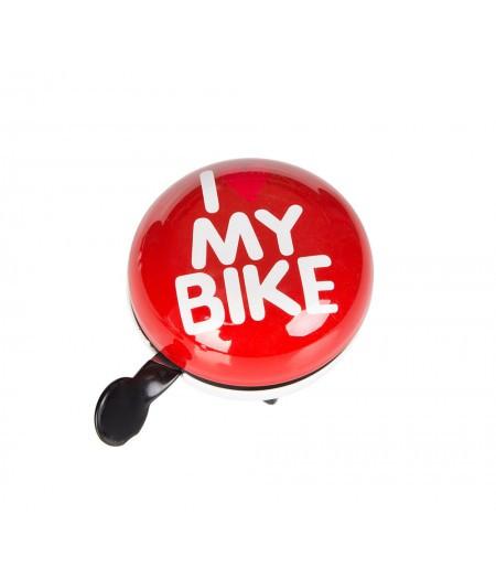 Звонок Green Cycle GCB-1058S I love my bike, красный