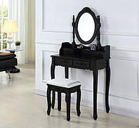 Туалетный столик с зеркалом + табурет Черный новый (Польша) НАЛИЧИЕ