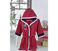 Бордовый детский халат с капюшоном Altinbasak хлопок Турция