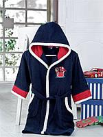 Темно-синий детский халат с капюшоном Altinbasak хлопок Турция