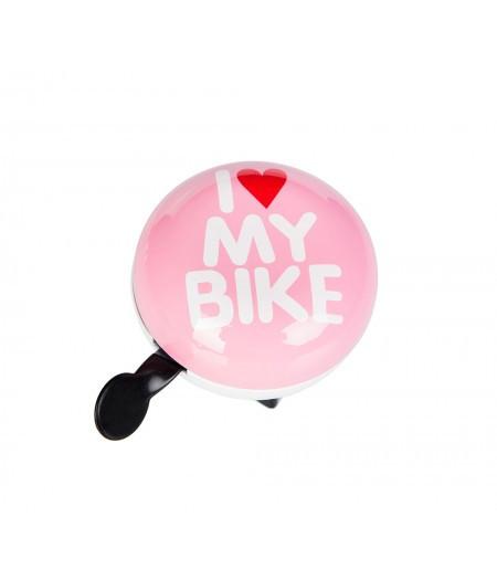 Звонок Green Cycle GCB-1058S I love my bike, розовый