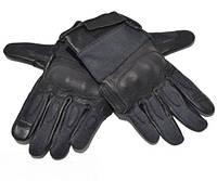 Кожаные тактические перчатки MIL-TEC с кевларовыми вставкам чёрные  12504202