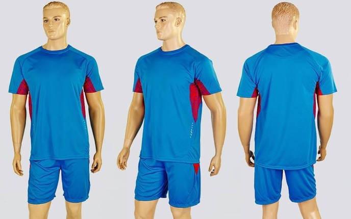 Футбольна форма Sole CO-1012-LB (PL, р-р M-XXL, блакитний-червоний, блакитні шорти), фото 2
