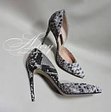 Женские туфли на каблуке из питона натуральной расцветки, фото 2