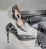 Женские туфли на каблуке из питона натуральной расцветки, фото 3