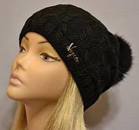 Женская шапка с помпоном из натурального меха Миранда