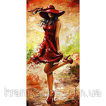 "Картина по номерам ""Дама в красном"" 27х50 см"