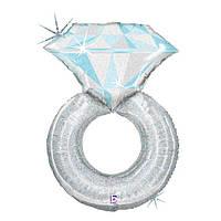 Гелиевый фольгированный шар Серебрянное Кольцо. Гелиевые шары на День Влюбленных.
