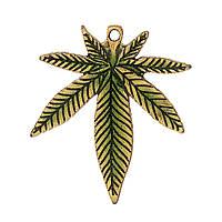 """Подвеска """" Лист """", 39 мм x 33 мм, Античная золото, Зелёный, Цинковый сплав, Эмаль"""