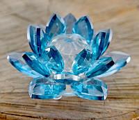 """Лотос """"кришталевий"""" синій (8х8х4,5 см)"""
