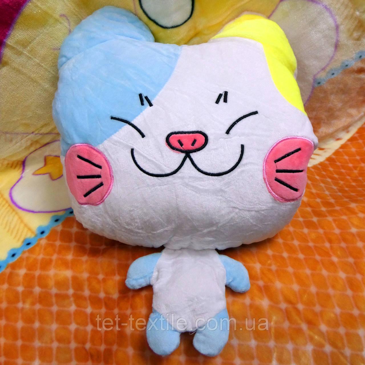 Плед - мягкая игрушка 3 в 1 (Котик бело-голубой)