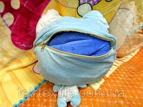 Плед - мягкая игрушка 3 в 1 (Котик бело-голубой), фото 2