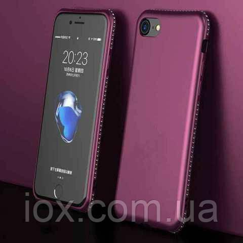 М'який TPU чехол з камінням Сваровські для iPhone 6/6s Бордовий