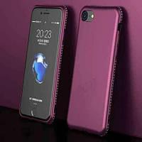 Мягкий TPU чехол с камнями Сваровски для iPhone 6/6s Бордовый