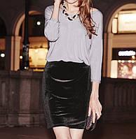 Красивая бархатная, велюровая мини юбка с поясом-резинкой Esmara, цвет черный р. S