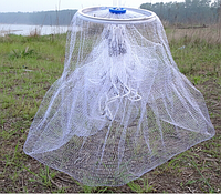 Кастинговая сеть американского типа из лески,с алюминиевым кольцом,диаметр 4метра ячейка 12мм