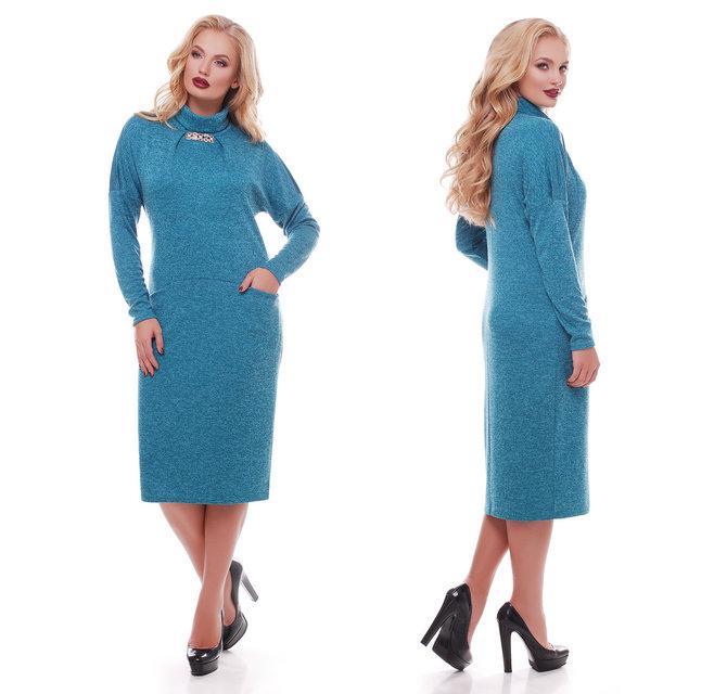 Женское теплое ангоровое платье Алиса цвет бирюза / размер  52, 54, 56, 58