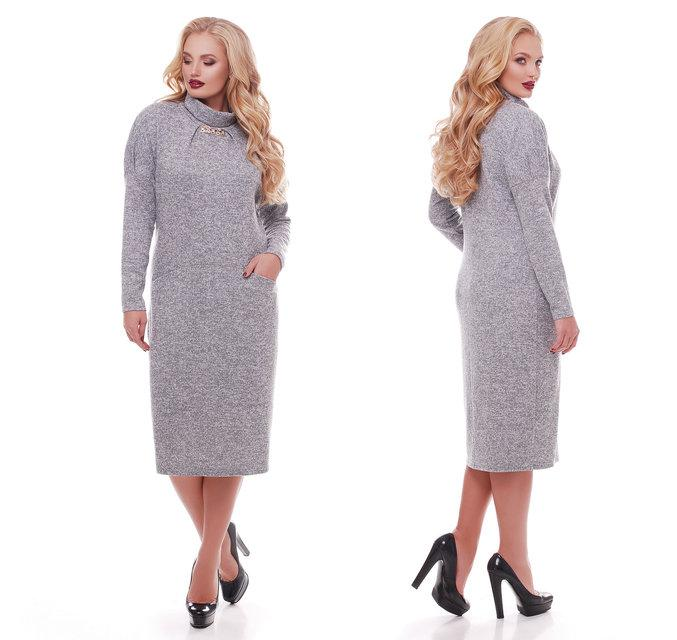 Женское теплое ангоровое платье Алиса цвет жемчуг / размер  52, 54, 56, 58