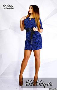 Платье с поясом из эко-кожи больших размеров арт 46776-32