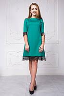 Стильное женское платье с кружевом зеленого цвета