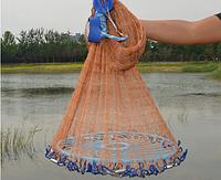 Кастинговая сеть американского типа из нитки,с кольцом фризби,диаметр 4метра ячейка 20мм