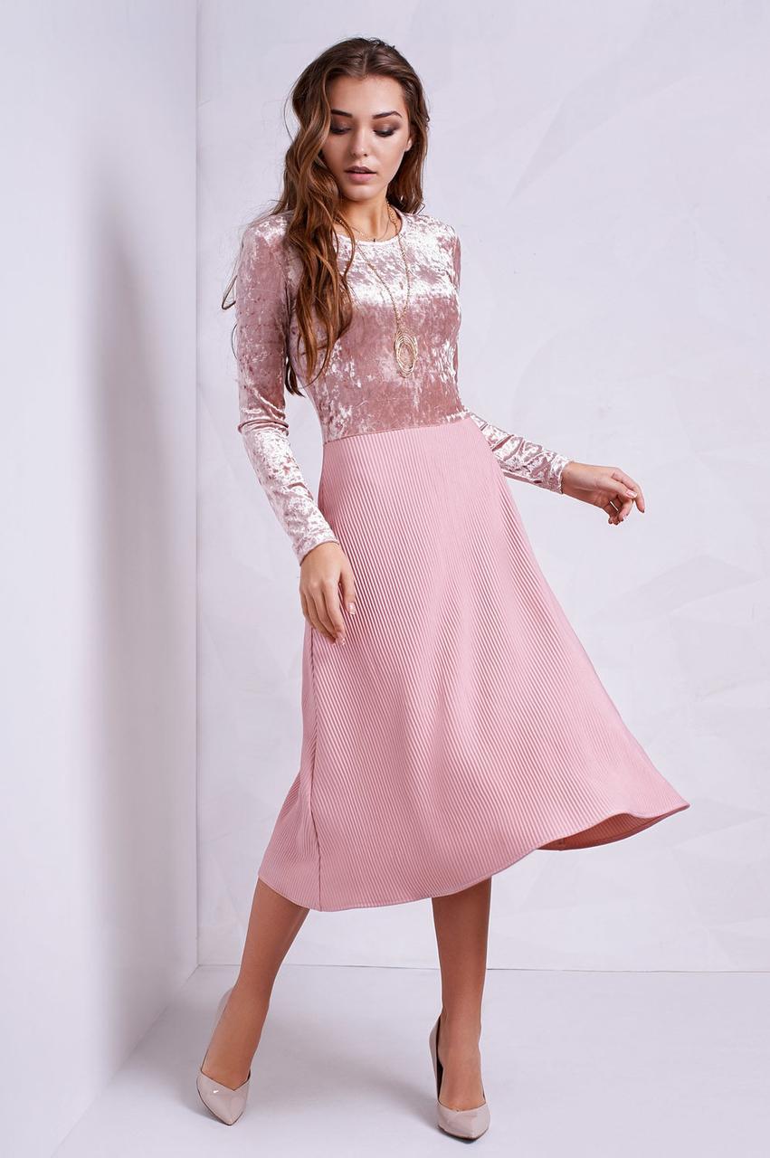 Современное платье с комбинированных тканей - Оптово - розничный магазин  одежды