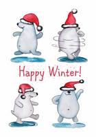 """Зимняя открытка """"Танцующие мишки"""""""