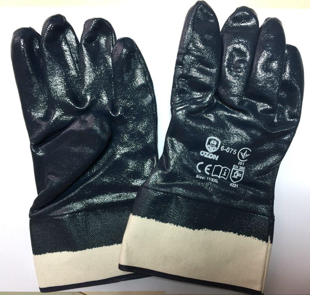 Перчатки нитриловые  с жёстким манжетом