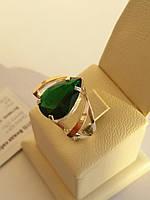 Серебряное кольцо с золотом и камнями (арт.01-015К)