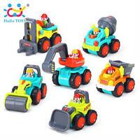 Машинка строительная техника Huile Toys, самосвал, бетономешалка, экскаватор, каток, погрузчик, бульдозер