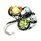Топаз, хризолит и цитрин, серебро 925, кольцо, 1011КЦТ, фото 2