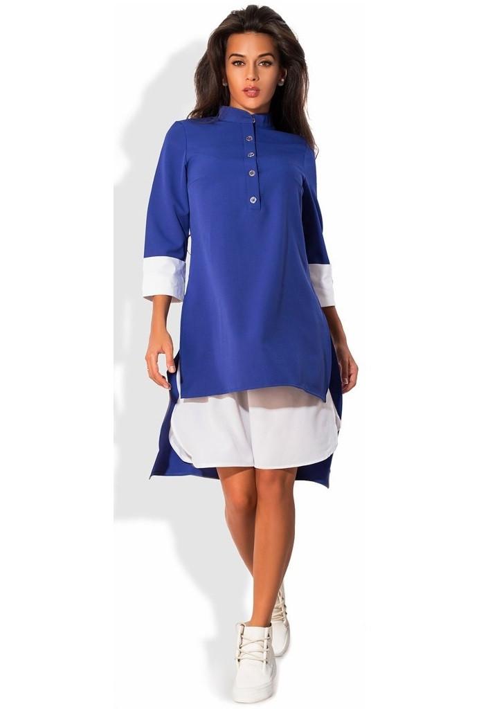 Платье-костюм двойка синее поло-фрак и белая юбка
