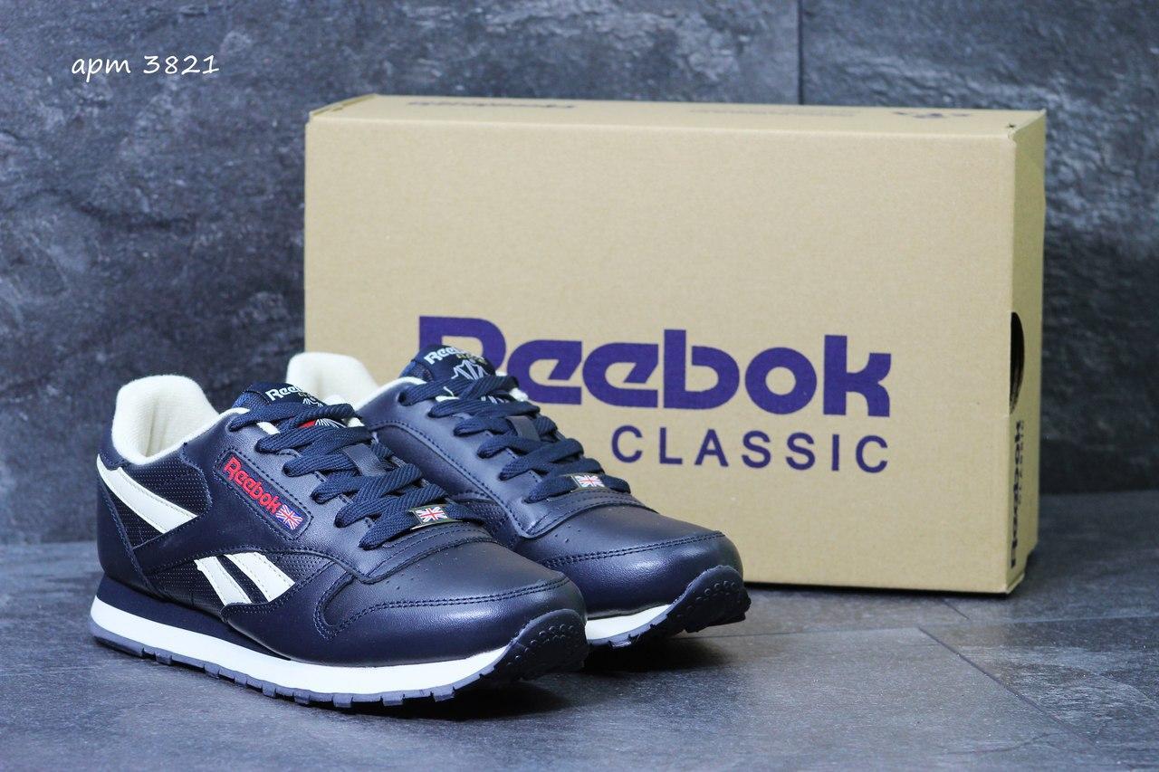 Мужские кроссовки Reebok кожаные,темно синие с белым