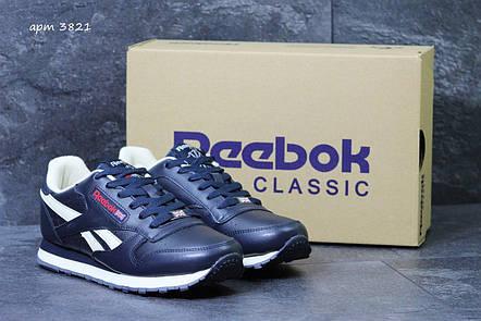 Мужские кроссовки Reebok кожаные,темно синие с белым, фото 2