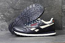 Мужские кроссовки Reebok кожаные,темно синие с белым, фото 3