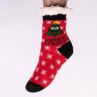 Детские теплые полушерстяные тапочки-носки с антискользящей поверхностью с ёлочкой.