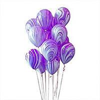 """Воздушные шары мраморные  12"""" (30 см.) фиолетовый с белым"""