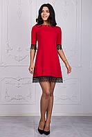 Красное женское платье трапеция с черным ажуром
