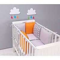 Комплект в кроватку Хатка 17 в 1 серый с оранжевым