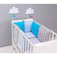 Комплект в кроватку Хатка 9 в 1 для мальчика серый с голубым